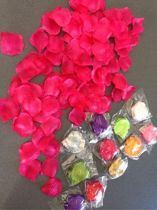 Petalos rosas artificiales de seda