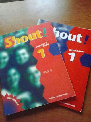 Libros de inglés de 3 de la ESO. Shout! Student's book. + workbook.
