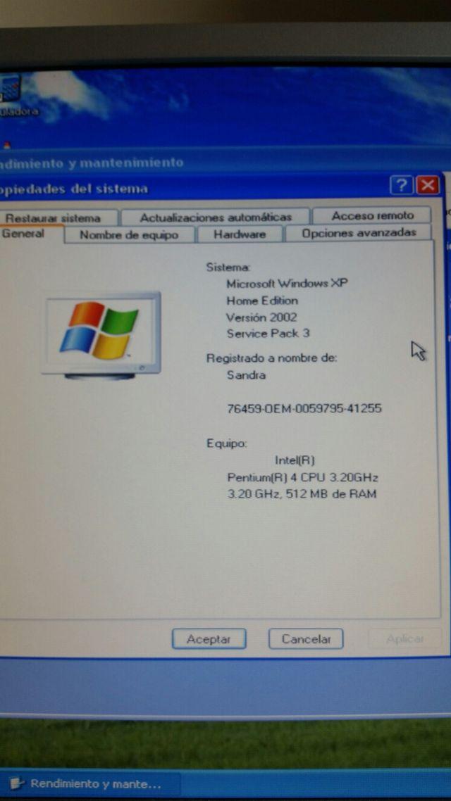 Ordenador completo. Con pantalla y teclado
