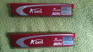 2 memorias ram poco uso 1 Gb cada una