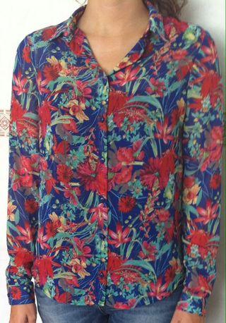 Camisa estampada manga larga botones