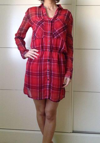 Vestido rojo a cuadros talla M, nuevo