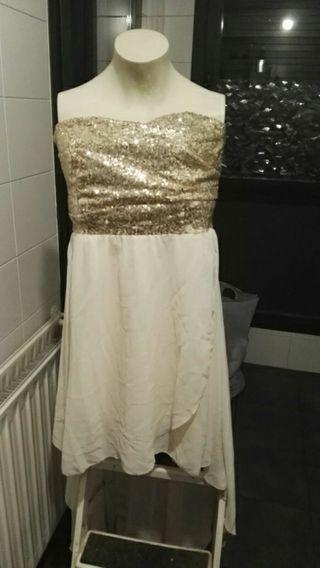 Urge vender Vestido asimétrico beige y lentejuelas dorado talla L nuevo boda fiesta gala