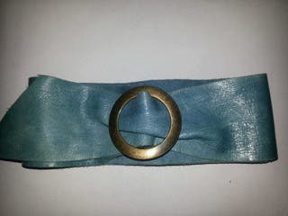 cinturón piel cuero azul genuina