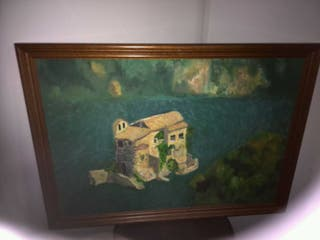 Cuadro al óleo sobre tabla con marco de madera