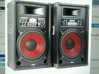 Pareja de altavoces con amplificador 1200w karaoke