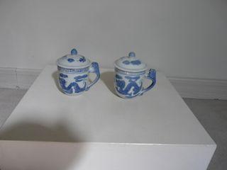 2 Tisanieres Decor Bleu Dragon Et Phoenix - Neuves