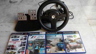 PS2: Volante + 4 juegos compatibles