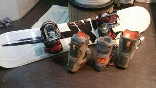 Equipo Snowboard RIDE, botas Burton