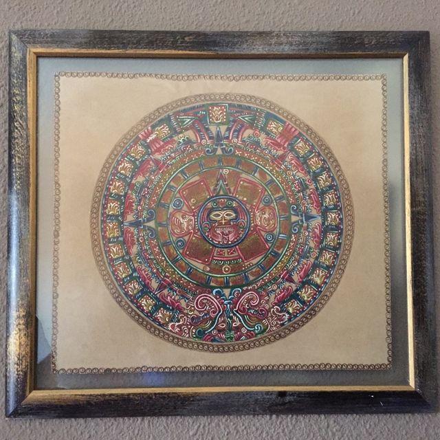 51d19a0f571d1 Cuadro Calendario Maya En Piel Pirograbado Y Pintado A Mano de ...