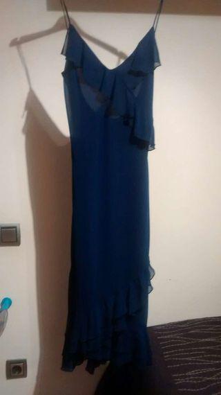 Vestido azul volantes mango