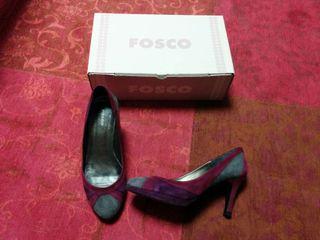 Zapato salón marca Fosco granate y gris