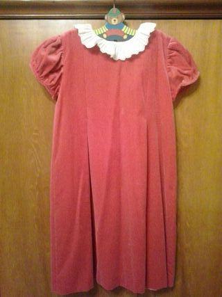 Vestido de niña en terciopelo rosa fucsia, de la marca Papo D'anjo, talla 12, algodón de buenísima calidad