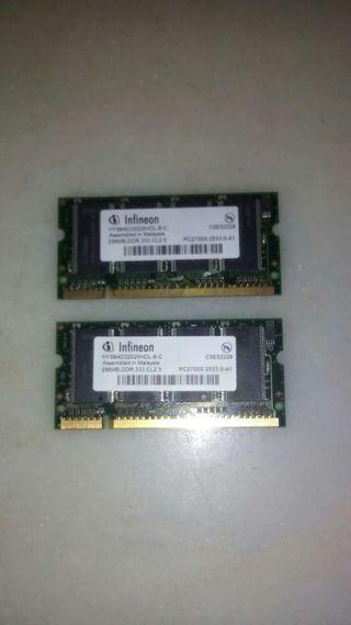 Memorias DDR 333 256 MB para portatil.
