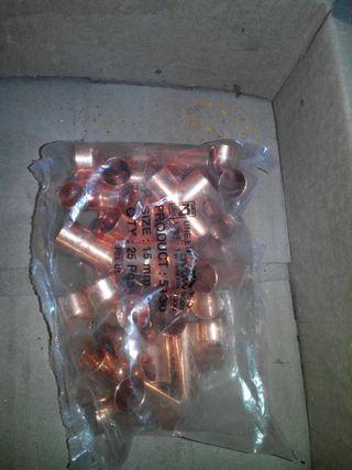 50 uds racor te 15 mm cobre h-h-h