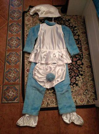 Disfraz pitufina borreguito talla 2 - 3 años.
