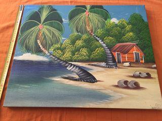 Cuadro Playa Con Palmera