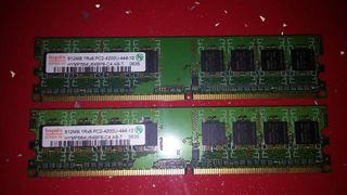 Ram DDR2 2 modulos de 512MB cada uno