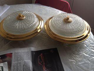 2 Lámparas retro de techo cristal