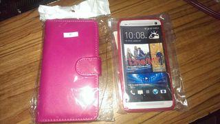 HTC ONE M7 coque clapet et silicone rose neuves