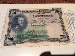 Billete Antiguo De 100 Pesetas Año 1925