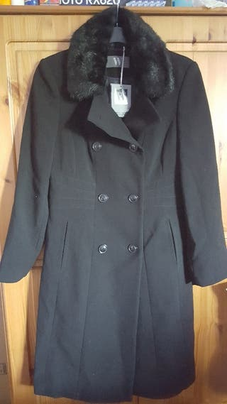 #ASAP BRAND NEW WITH TAGS BHS FAUX FUR COLLAR DOUBLE BREASTED WOMENS LONG WINTER COAT