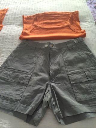 Lote De 2 Bermudas y 2 camisetas Talla 42 44 Pero Son Iguales Las Dos Y Camiseta Y Polo Talla M Casi Sin