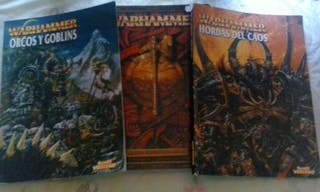 libros de reglamento y codex de orcos y goblins y hordas del caos.
