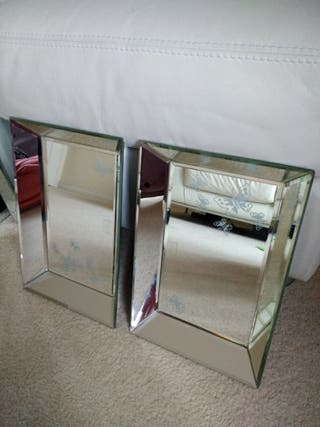 Laura Ashley Glass mirrored serving tray x 2