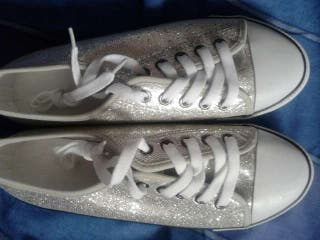 #ASAP BRAND NEW WITH TAGS SILVER SPARKLY SNEAKERS