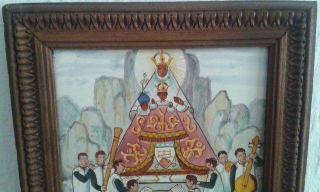 Antiguo Cuadro Pequeño De Baldosa Enmarcada