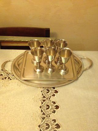 Copas bañadas en plata con 2 bandejas
