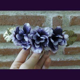 Peineta flores hecha a mano!