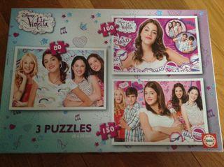 Caja Con 3 Puzzles Violetta