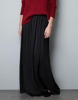 Falda larga negra de zara