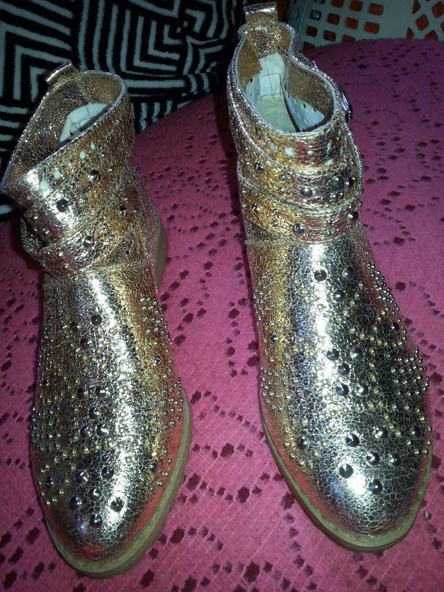 Boots bottines clous style cuir cuivré Neuf