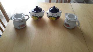 Lote de 4 recipientes cerámica para sal, azúcar, aceites de pescado y carne