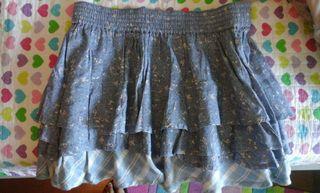 Falda azul con volantes talla L de Sfera