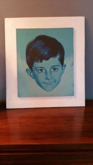 Original retrato vintage niño pintura sobre tabla.