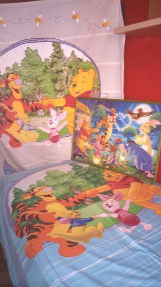 Funda nórdica + estor +cuadro de puzzle, winnie the pooh