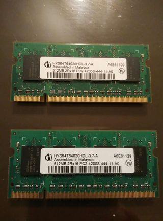 2 Memorias para portatil ddr2,Pc2, 512 MB