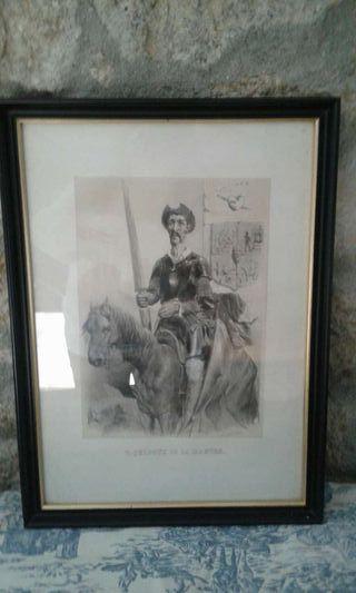 Litografías enmarcadas tema Don Quijote