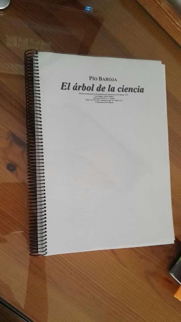 """Libro de lectura """"El arbol de la ciencia"""" de Pio Baroja"""