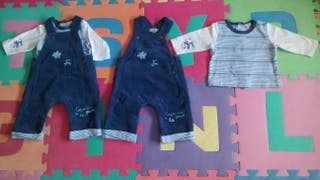 Conjunto peto y camiseta talla 1 mes bebe niño.