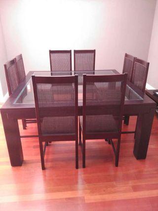 Conjunto mesa salón comedor bengué.