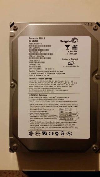 Disco duro Seagate de 80 GB 7200 barracuda