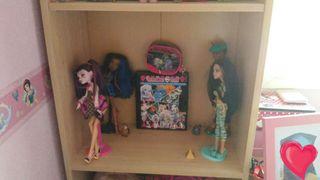 Lote de 3 muñecas monster high ,taquilla ,bolso de viaje , monedero y otro bolso (el k esta en mi perfil)
