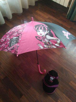 Paraguas y gorro de Monster High