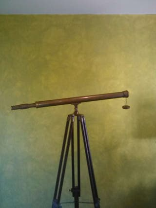 TELESCOPIO DE MADERA y BRONCE