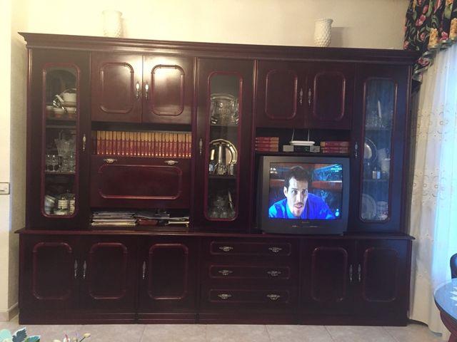 Mueble de salón, librería, color caoba, clásico. de segunda mano por ...